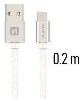Swissten USB/USB-C kabel 0,2 m, stříbrná