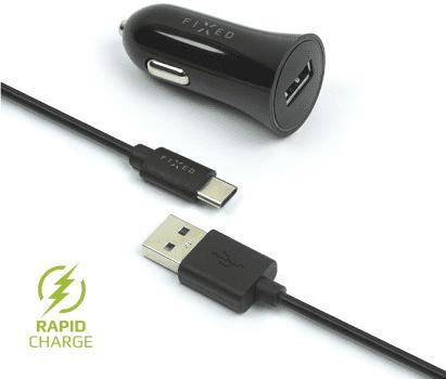 Fixed autonabíječka + dátový kabel USB-C 2,4 A, černá