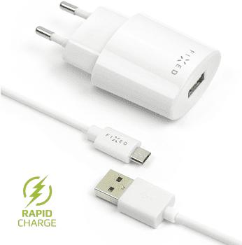 Fixed síťová nabíječka + dátový kabel micro USB 2,4 A, bílá