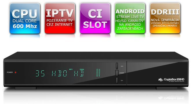 Prijímač pre pohodlné sledovanie v domácnosti - AB CRYPTOBOX 650HD, sat. prijímač