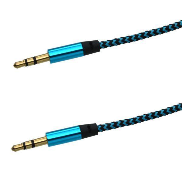 Mobilnet AUX kabel 3.5mm jack (černo-modrý)