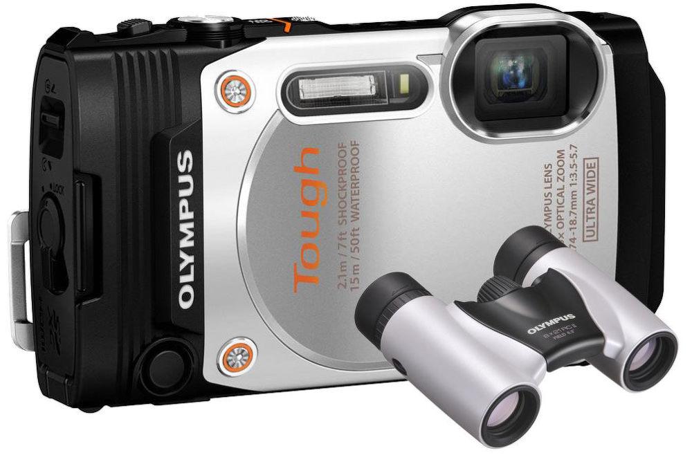 Olympus Stylus Tough TG-860 (bílý) + dalekohled 8x21 RC II (perleťově bílý)