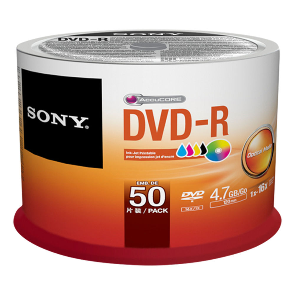 Sony DVD-R 4,7GB 16x, Printable, 50ks