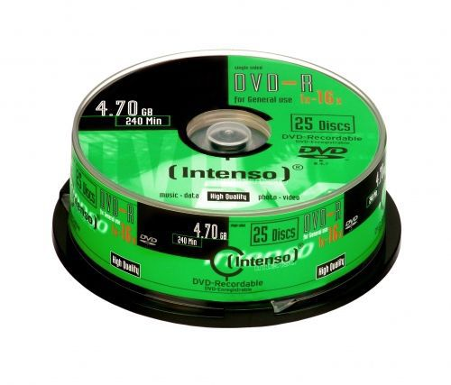 Intenso DVD-R, 4101154, 25-pack, 4.7GB, 16x, cake box