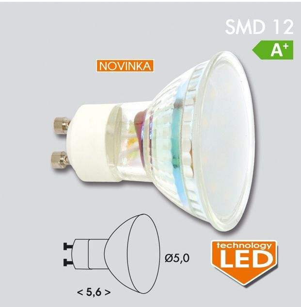 EcoLite LED GU10, 12x SMD 2835, 4,5W, 420lm