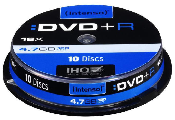 Intenso DVD+R, 4111652, 10-pack, 4.7GB, 16x, slim case