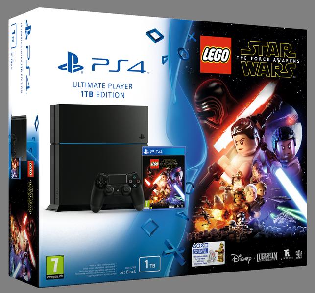 Sony PlayStation 4 1TB (černý) + Lego Star Wars + BD film + dárek SpeedLink JAZZ USB Charger - Nabíječka pro ovladač, Speedlink Legatos Stereo Headset pro PS4 (černo-červená), PS4 Dualshock Controller (černý) zdarma