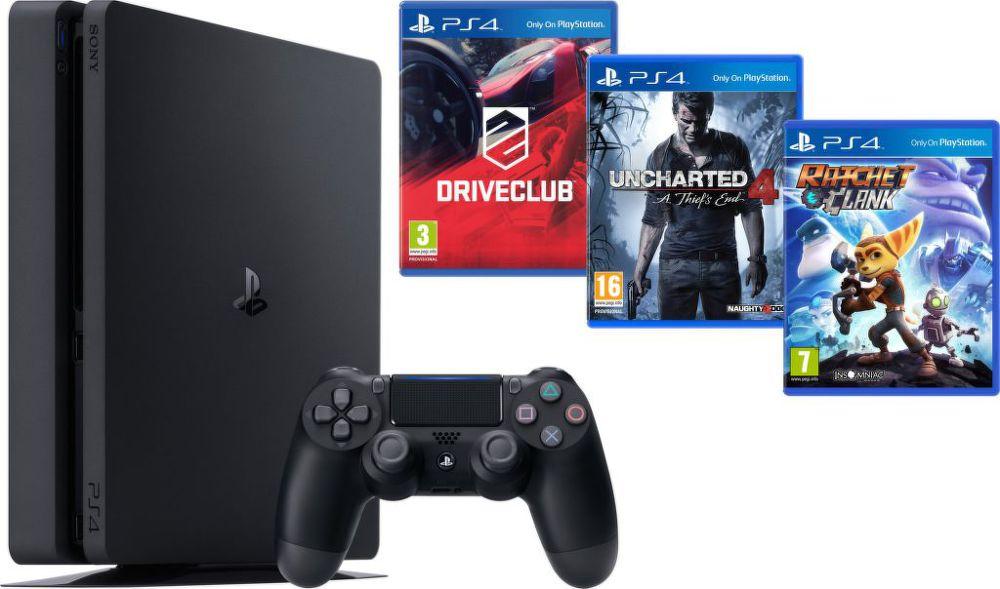 Sony PlayStation 4 1TB+DriveClub+Uncharted 4: Thiefs End+Ratchet&Clank (černý) + dárek SpeedLink JAZZ USB Charger - Nabíječka pro ovladač zdarma