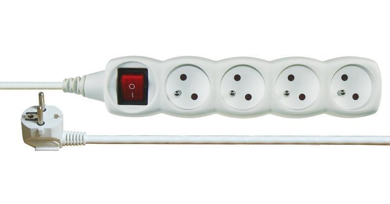 Emos P1412 - Prodlužovací kabel s vypínačem, 4 zásuvky, 2m (bílý)