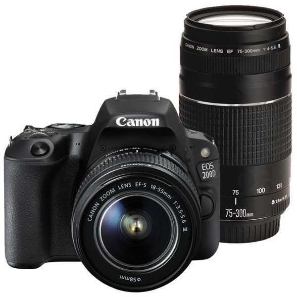 CANON EOS 200D + 18-55mm DC III + 75-300mm DC III černý
