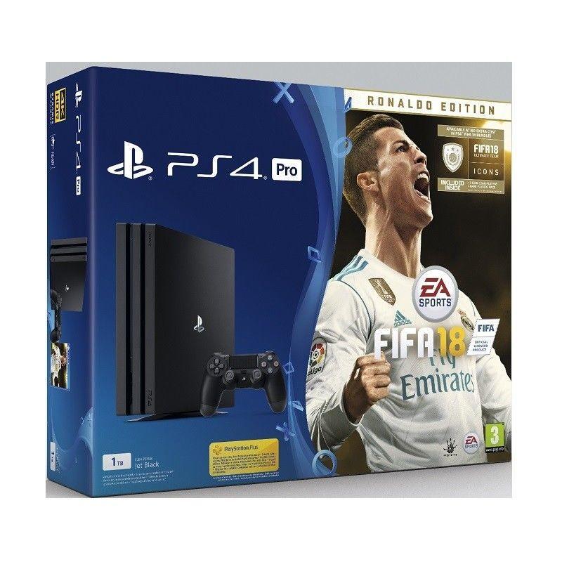Sony PlayStation 4 Pro 1TB černý + FIFA18 Ronaldo Edition + PS Plus 14 dní
