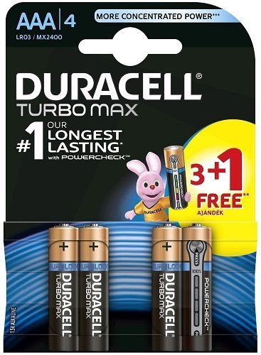 Duracell Turbo Max AAA baterie 3 + 1 ks