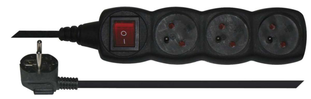 Emos PC1311 - Prodlužovací kabel s vypínačem, 3 zásuvky, 1,5m (černý)