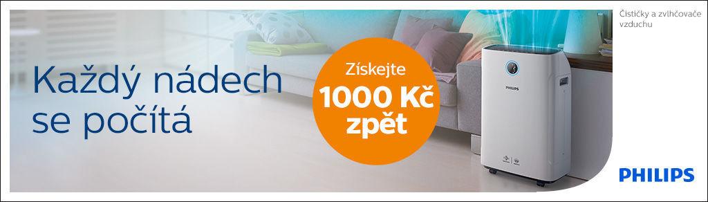 Cashback 1 000 Kč na čističky a zvlhčovače vzduchu Philips