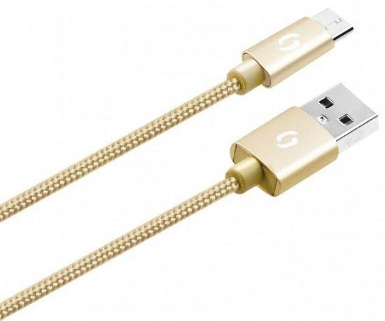 Aligator microUSB datový kabel 1m, zlatá