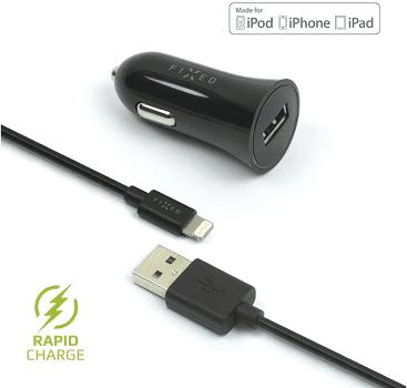 Fixed autonabíječka + dátový kabel Lightning 2,4 A, černá