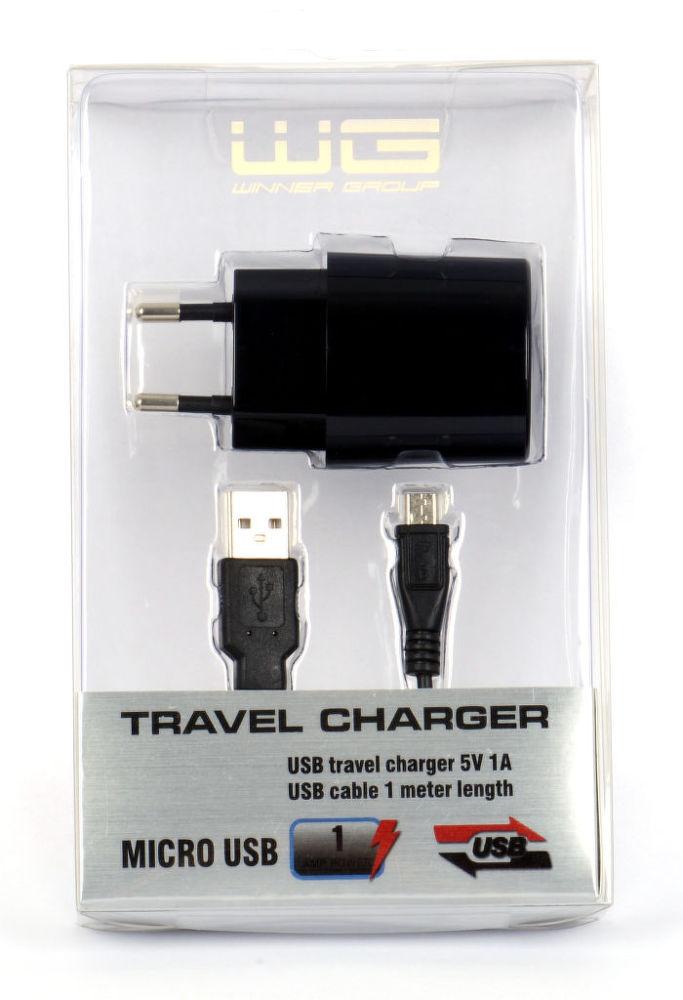 Winner síťová nabíječka USB (1A) + datový kabel micro USB (1m)