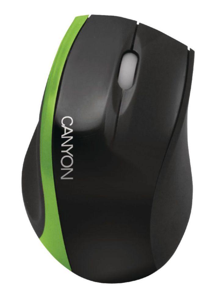 CANYON 01NG, optická myš, USB, černo-zelená, 800 dpi