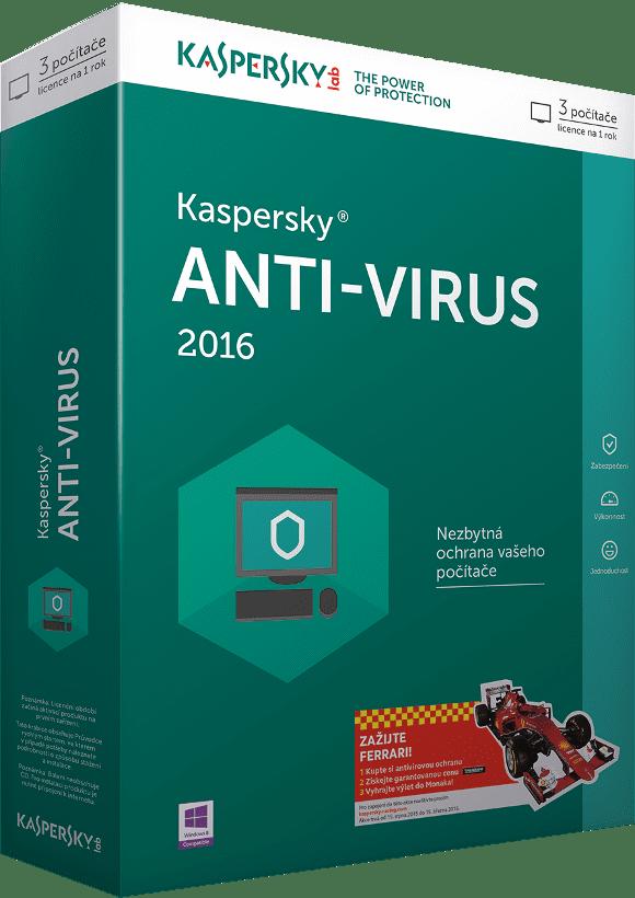 Kaspersky Anti-Virus 2016 CZ, pro 2 PC/ 12 měsíců, obnovení licence
