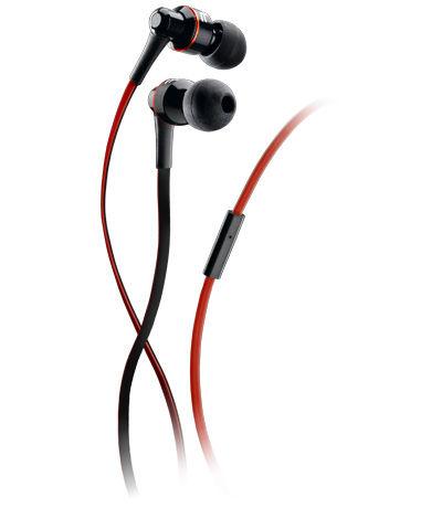 Špuntová sluchátka Audiopro Mosquito, s mikrofonem, pro mobilní telefony, černo-červená