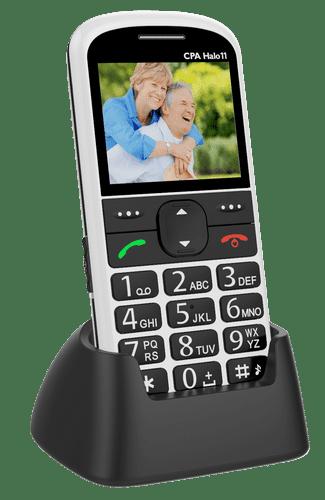 Mobilní telefon CPA Halo 11 stříbrný s nabíjecím stojánkem
