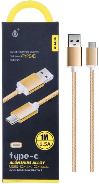 Plus AU406 USB-C kabel 1,5A 1m, zlatá