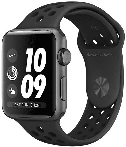 Apple Watch Series 3 Nike+ 42mm, vesmírně šedý hliník a antracitový/černý sportovní řemínek Nike