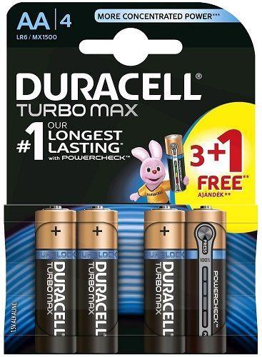 Duracell Turbo Max AA 1,5 V baterie 3 + 1 ks