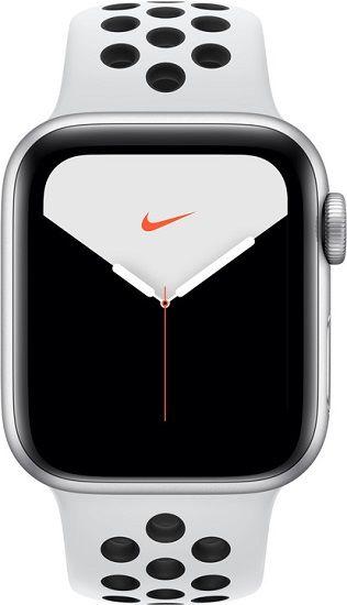 Apple Watch Series 5 Nike 44 mm stříbrný hliník s platinovým/černým sportovním náramkem