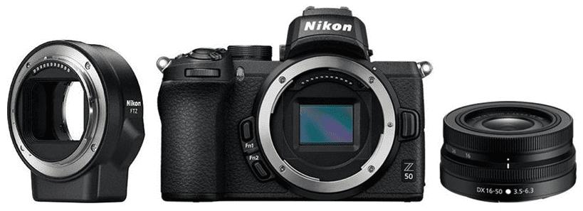 Nikon Z50 černá + Nikon Z DX 16-50mm f/3,5-6,3 VR + Nikon FTZ adaptér
