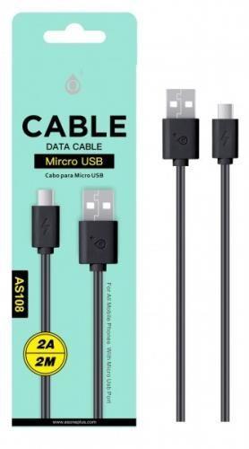 Aligator Plus AS108 microUSB kabel 2m, černá