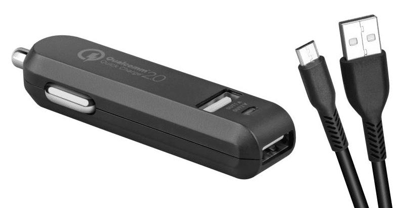 Avacom CarMax 2xUSB QC2 autonabíječka, černá + microUSB kabel 1m