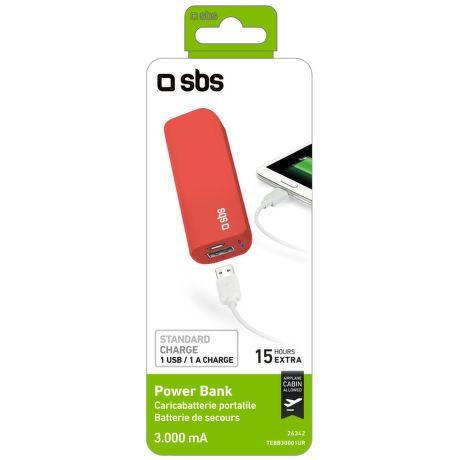 SBS TEBB30001UR powerbanka 3000 mAh, červená