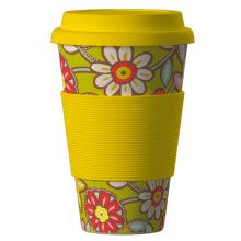 ECO BAMBOO Cup Daisies (žlutá) - Ekologický termo hrnek 400 ml