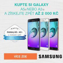 Cashback až 2 000 Kč na Galaxy A3 a A5