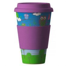 Eco Bamboo Cup Owl ekologický termo hrnek (400 ml)