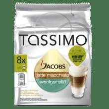 TASSIMO Jacobs Latte Mac Less Sweet - kapslová káva (8+8 ks)