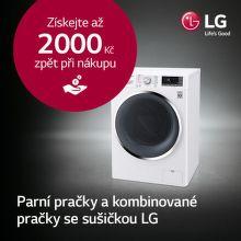 Cashback až 2 000 Kč na pračky nebo pračky se sušičkou LG