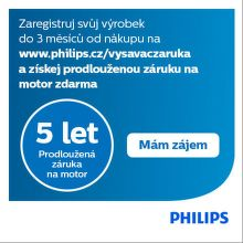 5 let záruka na motor vysavačů Philips