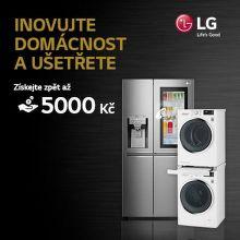 Cashback až 5 000 Kč na pračky, sušičky a chladničky LG