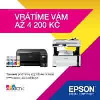 Cashback až 4 200 Kč na vybrané tiskárny Epson