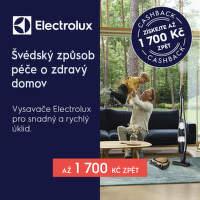 Cashback až 1 700 Kč na vybrané vysavače Electrolux