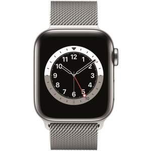 Apple Watch Series 6 GPS + Cellular 40 mm stříbrná ocel se stříbrným milánským tahem