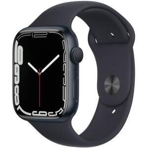 Apple Watch Series 7 GPS 45 mm temně inkoustový hliník s antracitově černým sportovním řemínkem