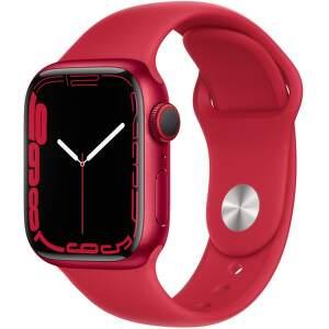 Apple Watch Series 7 GPS + Cellular 41 mm (PRODUCT)RED hliník s (PRODUCT)RED športovým remienkom