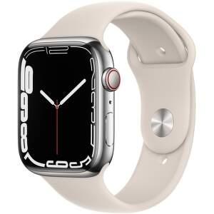 Apple Watch Series 7 GPS + Cellular 45 mm strieborná nerezová oceľ s hviezdne bielym športovým remienkom