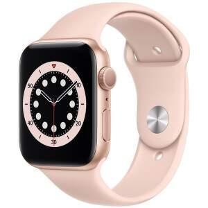 Apple Watch Series 6 44mm zlatý hliník s pískově růžovým sportovním řemínkem-1