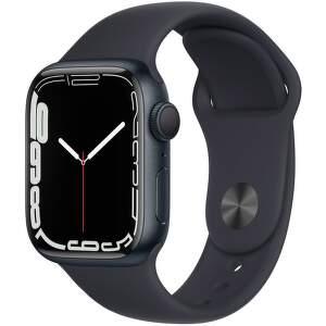 Apple Watch Series 7 GPS 41 mm temně inkoustový hliník s antracitově černým sportovním řemínkem