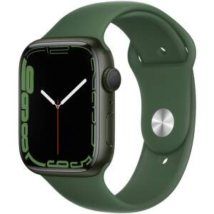 Apple Watch Series 7 GPS 45 mm zelený hliník s jetelově zeleným sportovním řemínkem