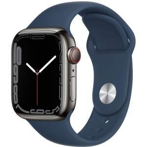 Apple Watch Series 7 GPS + Cellular 41 mm grafitovo sivá nerezová oceľ s hlbokomorsky modrým športovým remienkom